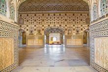 Walls With Silver And Mirrors In Rich Decorated Amber Fort. Jaip