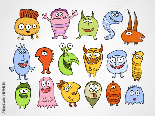 Deurstickers Schepselen Set of funny Halloween monsters.