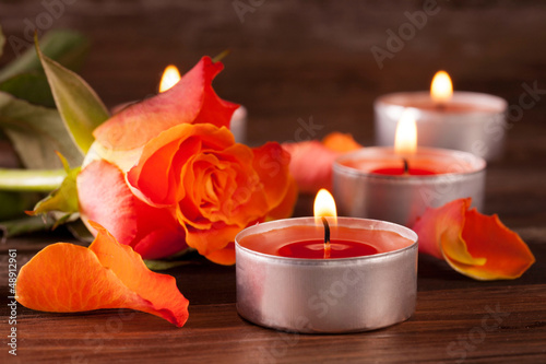 Doppelrollo mit Motiv - Rose mit Kerzen