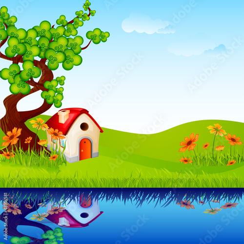 Canvas Prints River, lake vector illustration of home under tree in nature landscape