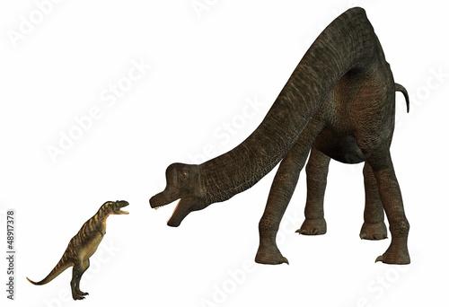 Obraz na plátně brachiosaurus contre aucasaurus