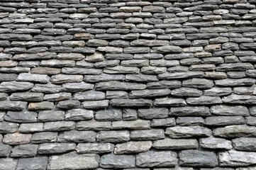 close up of thick slates on a roof in Bretagne