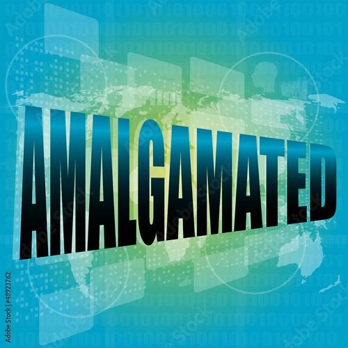Photo word amalgamated on digital touch screen