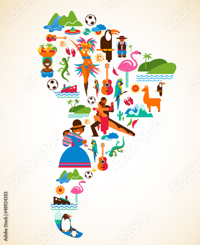 South America love - concept illustration with vector icons Canvas Print