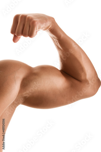 Canvas Print Close up of man's hand with bicep, isolated on white