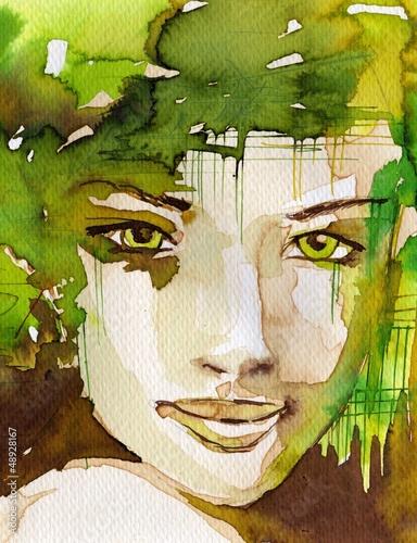 Photo sur Aluminium Inspiration painterly portrait of a girl.