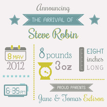 Baby Boy Arrival Card With Place For Your Text - In Vector