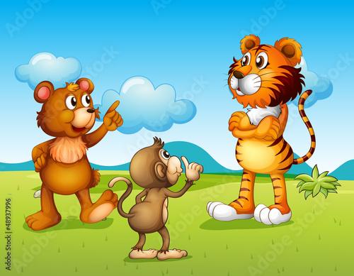 Foto op Aluminium Zoo A tiger, a monkey and a rat