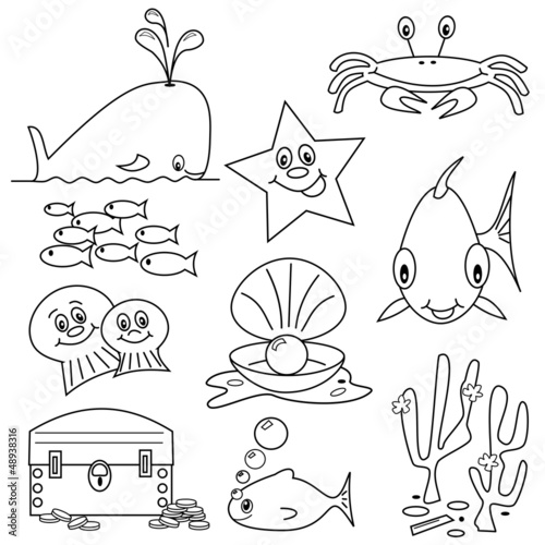 Selection Of Sea Life Clipart Cartoons For Colouring Book