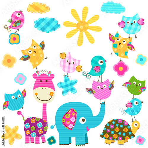 Keuken foto achterwand Uilen cartoon cute happy animals