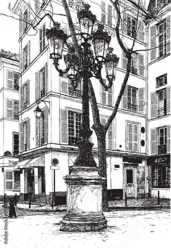 Foto auf AluDibond Gezeichnet Straßenkaffee Furstemberg square in paris
