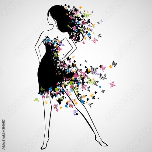wektorowa-ilustracja-piekna-kobieta-z-motyl-suknia