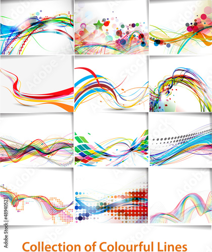 Foto op Canvas Abstract wave set of abstract wave line poster with space of your text.