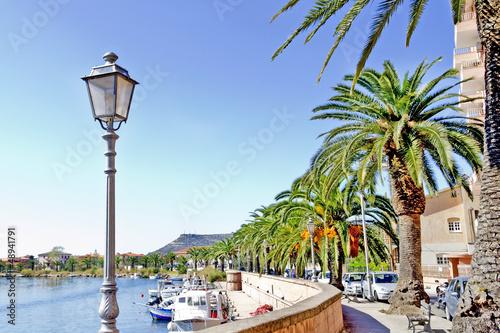 Photo  streetlamp along the Temo river