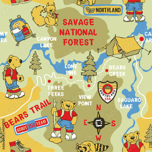 Route Cute Bear trekking - vector seamless pattern