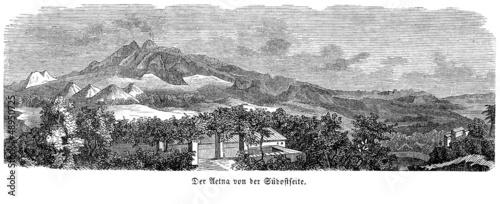 Poster Grijs Ansicht des Ätna im 19. Jahrhundert (Alte Lithographie)