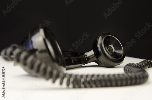 Black old phone horn - Buy this stock photo and explore