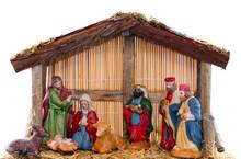 Weihnachtskrippe Vor Weißem Hintergrund