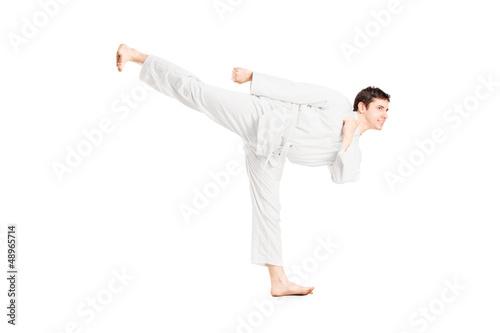 Deurstickers Vechtsport A karate man exercising
