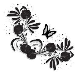 coin floral noir