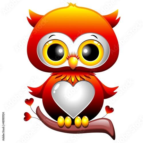 Baby Owl Love Cartoon Gufo Cucciolo di Cuori e Amore-Vector