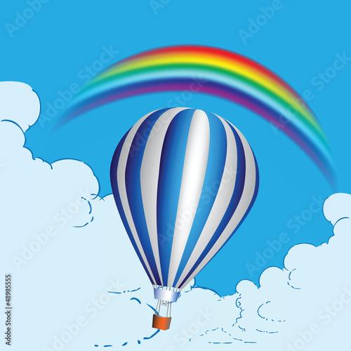 In de dag Regenboog Balloon and rainbow