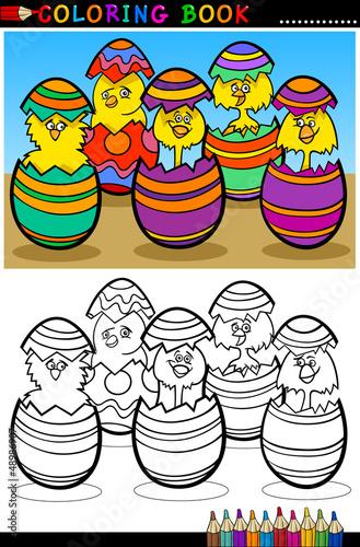 Tuinposter Doe het zelf cartoon chicks in easter eggs coloring page