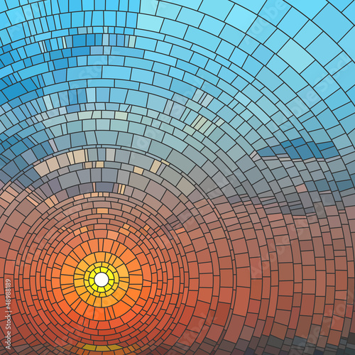Fotografie, Obraz  Vector illustration of sunset in sea.