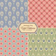 Pastel-colored Retro Patterns - Set Of Four Vintage Designs