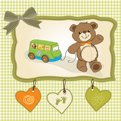 Plakat baby shower card with cute teddy bear