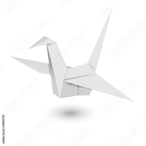 Poster Geometrische dieren Illustration of origami crane isolated on white background