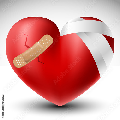 Canvas Print Broken heart with bandage