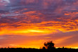 Dramatic cloudy red and purple sunset