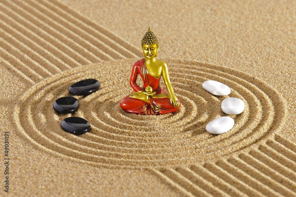 Doppelrollo mit Motiv - Zen Garten mit Buddha