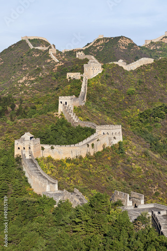 High angle view on Great Wall at sunset, Jinshanling, Beijing.