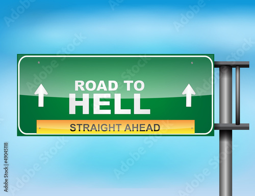 "Photo  Highway sign with ""Road to Hell"" text"