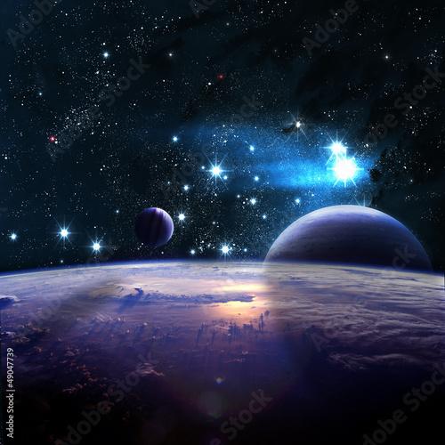 Obraz premium Planety nad mgławicami w przestrzeni