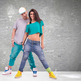 young man and woman  hip-hop dancers - 49049950