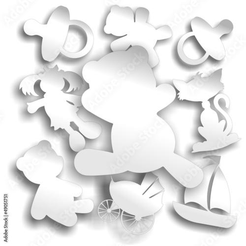 Photo Baby Objects White Stickers Labels-Neonato Etichette Bianche