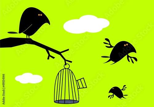 In de dag Vogels in kooien Funny birds and empty cage