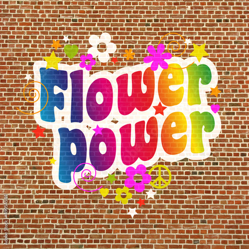 Photo  Mur Flower power (PHOTOMONTAGE)