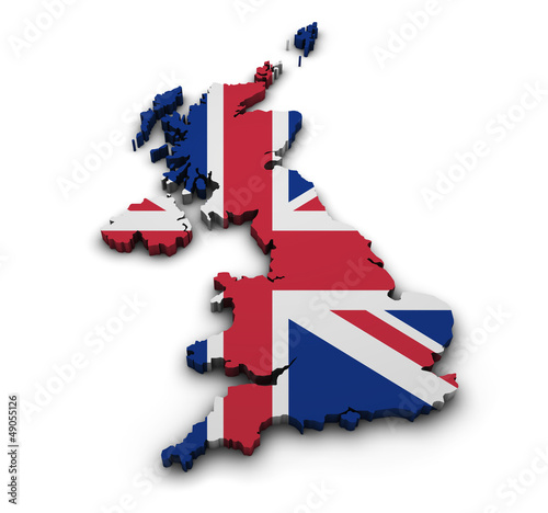 Fotografie, Obraz  United Kingdom Flag Map Shape