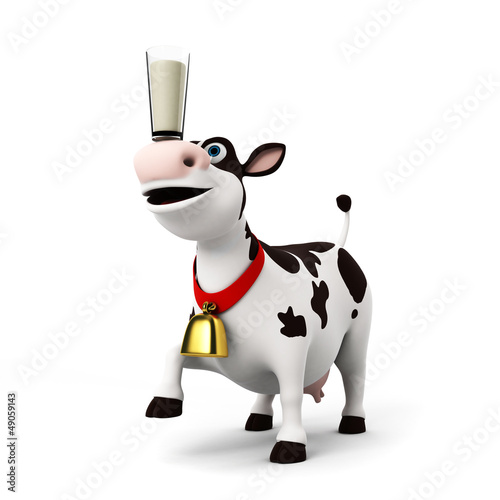 Spoed Foto op Canvas Boerderij 3d rendered illustration of a toon cow