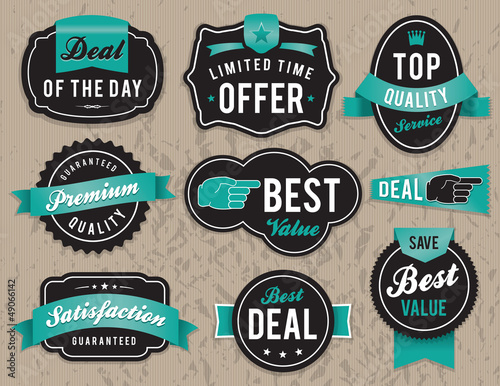 Fotomural  Retro business labels and badges