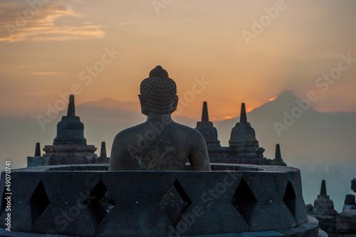 Foto op Plexiglas Indonesië Borobudur temple at sunrise, Java, Indonesia