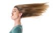 canvas print picture - Frau schneidet Grimasse - Haare isoliert