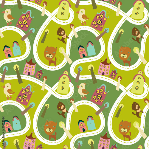 Poster Op straat Road seamless pattern with houses and animals