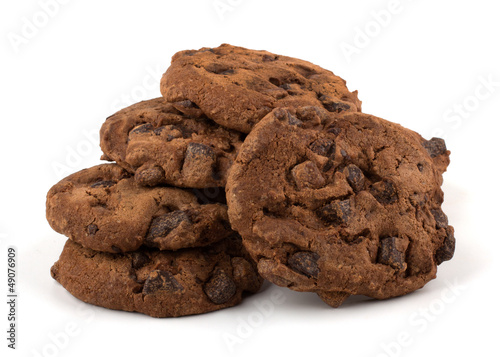 Tuinposter Koekjes Chocolate chips cookies isolated on white