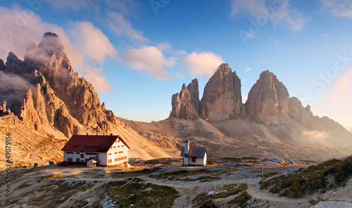 Tuinposter Cappuccino Dolomites mountain in Italy at sunset - Tre Cime di Lavaredo