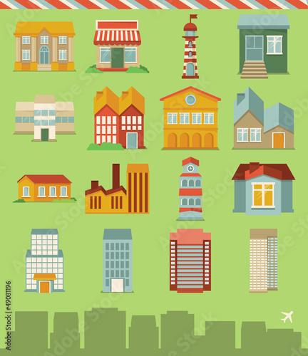 Foto op Plexiglas Op straat Vector set with buildings icons